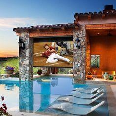Tv backyard by the pool