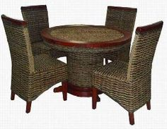 Dining Set, Dining Chairs, Wicker Furniture, Beach Cottages, Rattan, Home Decor, Style, Dinning Set, Rattan Furniture