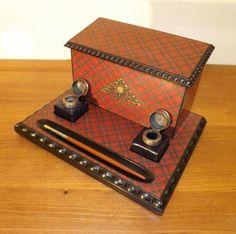 Tartan Ware 'Royal Stuart' Stationery Inkwell Stand 1900's