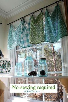 Kitchen Window Treatments Blue Curtains 17 Ideas For 2019 Kitchen Sink Window, Kitchen Window Curtains, Dining Room Windows, Kitchen Window Treatments, Bathroom Windows, Kitchen Valances, Window Valances, Rustic Window Treatments, Kitchen Towels