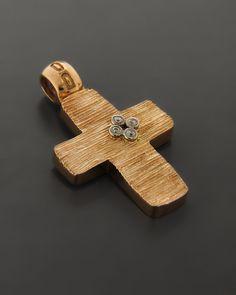 Σταυρός Ροζ Χρυσό K14 με Ζιργκόν | eleftheriouonline.gr Holy Cross, Cross Jewelry, Silver Diamonds, Cufflinks, Brooch, Jewels, Accessories, Crosses, Santa Cruz
