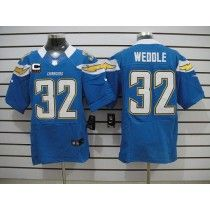 Nike Chargers #32 Eric Weddle Electric Blue Alternate With C Patch Men's Stitched NFL Elite Jersey