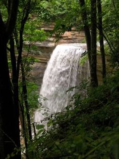 Tunnel Falls is in Clifty Falls State Park, Madison Co, IN. There are four waterfalls in the park.--GLWB