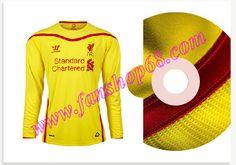 Günstig Kaufen Neues Liverpool (LFC) Rossiter 46 Warrior Sports Away Lange Armel Fussball Trikot 2014 2015 Billig Günstig Shop