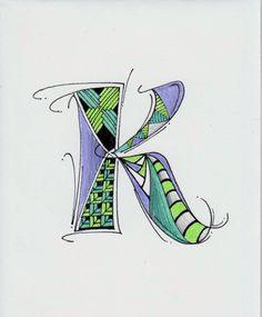 Zentangle Alphabet Letter K Doodle Lettering, Creative Lettering, Lettering Design, Alphabet Art, Letter Art, Doodles Zentangles, Zentangle Patterns, Painting & Drawing, Calligraphy Letters