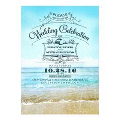 Destination Wedding Invitations Retro beach wedding invitations blue ombre seaside