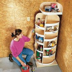 Corner lazy susan for garage. Also like the peg board storage cabinet for tools. I can never find anything in the 4 mini toolboxes I have.