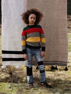 New best friends: patchwork denims and Alpine-fresh stripes. Scotch Shrunk, Scotch Soda, Streetwear, Denim Patchwork, Boys Sweaters, Free Spirit, Amsterdam, Hipster, Stripes