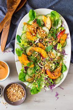asian zucchini noodles salad vegan miso dressing serving plate