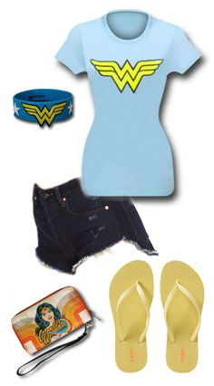 Wonder Woman Outfit by Mary Huth. Shorts: http://www.forever21.com/Product/Product.aspx?BR=f21&Category=bottom_shorts&ProductID=2000120296 Band: http://www.superherostuff.com/wonder-woman/wristbands/wonder-woman-symbol-molded-rubber-wristband.html?itemcd=bandrubmldwwsym Wallet: http://www.superherostuff.com/wonder-woman/wallets/wonder-woman-retro-zip-around-ladies-wallet.html?itemcd=waltwwrtrzparnd&utm_source=pinterest&utm_medium=social&utm_campaign=featuredoutfit