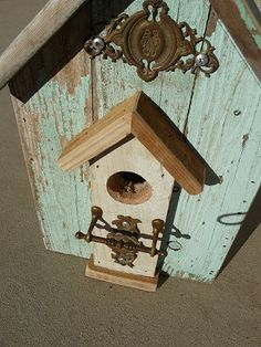Cottage Chic $45.00 SOLD https://www.etsy.com/listing/165074140/turquoise-birdhouse-designed-out-of-old?ref=listing-shop-header-0 On Etsy.com at threesistersharvest