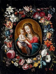 Philips de Marlier (1573-1668)  — Wreath of Flowers Around an Image of the Madonna and Child  (610x800)