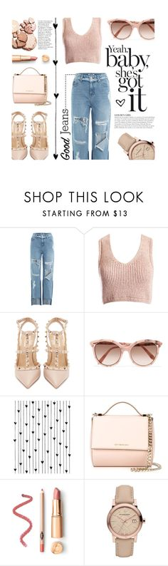 """""""Tear It Up: Distressed Denim - Golden Girl"""" by the-amj ❤ liked on Polyvore featuring SJYP, Sans Souci, Valentino, Victoria Beckham, KAROLINA, Camp, Givenchy and Burberry"""