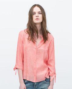 Afbeelding 1 van GESTREEPTE BLOUSE MET STRIKJE MOUW van Zara