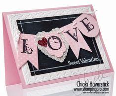 Chalkboard Technique  2013 Spring Catalog - Hearts A Flutter Framelits;  Lovely Letters Alphabet stamp set, Framed Tulips TIEF, Glimmer Paper, White Stampin' Emboss Powder