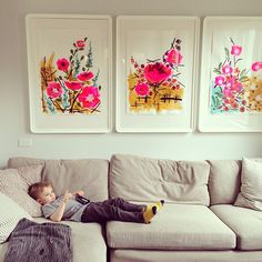 framed floral prints, simple yet brings some pop of color to the room
