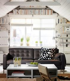 Brilliant Idea Small Space Living Ikea : Adorable Small Ikea Living Room Design In Small Space With Built In Wall Shelving Unit And Compact Furniture ~ Fmihc living spaces - space design ideas My Living Room, Living Room Decor, Living Spaces, Small Living, Single Man Bedroom, Men's Bedroom Design, Ikea Living Room Furniture, Black And White Living Room, Black White