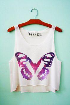 Galaxy Butterfly Crop Tank Top - Yotta Kilo
