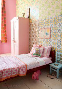 Room Seven bedding. Mooie kinderkamer voor meisje, geel en roze. Girls bedroom pink and yellow
