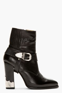 Toga Pulla Black Leather Croc_embossed Ankle Boot ~ womensbootshop.com