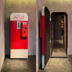 "There's a vintage Coca-Cola vending machine in Shanghai that hides a stylish up-scale bar called ""Flask."" The otherwise unassuming Coca-Cola machine stands in The Press, a sandwich shop that operates. Coke Machine, Vending Machine, Bar Secreto, Coca Cola Vintage, Vintage Bar, Vintage Fridge, Speakeasy Bar, Secret Passage, Hidden Spaces"