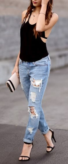 Lulus Top | Urban Outfitters Bralette and Denim | Bebe Clutch and Ring | Peggy Li Necklace | Similar Strappy Heels