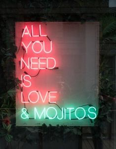 All you need is love and mojitos (or margaritas) Illustration Photo, Neon Quotes, Neon Words, Light Quotes, Neon Aesthetic, Decoration Originale, Neon Lighting, All You Need Is Love, Wise Words