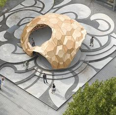 temporary, bionic research pavilion made of wood stuttgart
