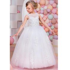 a051b6f63a147 US $119.0 |Holy White Flower Girls Dresses A Line CScoop Appliques Beaded Wedding  Girl Wear Hollow Back First Communion Dress Vestidos de-in Flower Girl ...