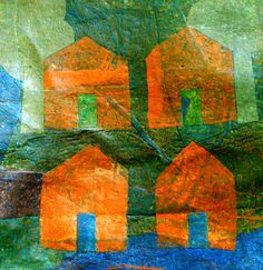 """Saatchi Online Artist Aviva Sawicki; Assemblage / Collage, """"Houses on the Hill II"""" #art Made from recycled plastic bags."""