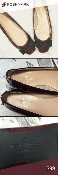 Kate Spade Oxblood Flats w/ Black Sequin Bow The perfect little touch to your preppy style! Add a feminine dash to denim, or be comfortable in your favorite office style! Excellent used condition to uppers, small smudges to interior, soles in excellent condition. kate spade Shoes Flats & Loafers
