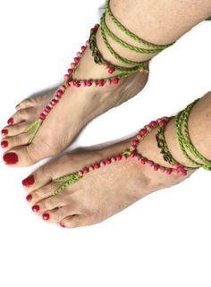 Green Pink Barefoot sandals. Beaded Crocheted Beach Yoga Festival Pool Slave anklet Crochet by thekittensmittensuk on Etsy