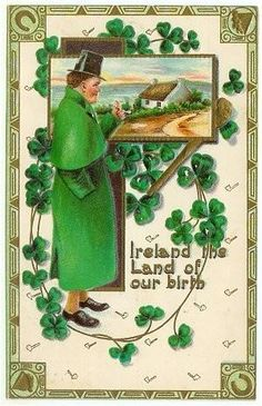 St. Patricks Day Postcard Ireland Man Pipe Vintage 1912 Germany by SandyCreekCollectables for $6.00