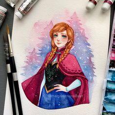 @mmoralesart on twitter Disney Princess Art, Anime Princess, Disney Fan Art, Watercolor Disney, Watercolor Paintings, Disney Drawings, My Drawings, Disney Paintings, Arte Sketchbook