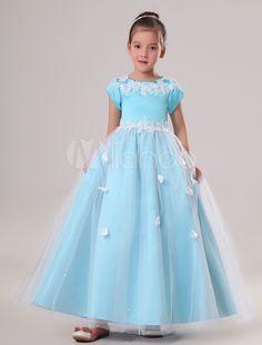 Azul curto mangas bordado cetim Organza Flower Girl Dress