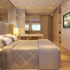 Girl Room Decor Ideas - How can I make my bedroom look more expensive? Girl Room Decor Ideas - How can I decorate my bedroom for cheap? Bedroom Tv Stand, Couple Bedroom, Small Room Bedroom, Home Decor Bedroom, Modern Bedroom, Suite Master, Home And Deco, Luxurious Bedrooms, Beautiful Bedrooms