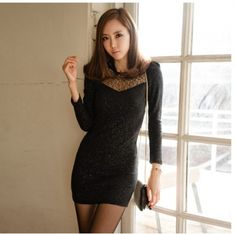 Elegant Long Sleeve Lace Splicing Glitter Figure Hugging Dress Black on BuyTrends.com, only price $11.00