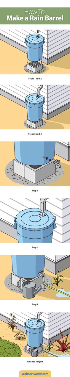 Recycle water by turning a trash can into a rain barrel. It's easy! #diy #save