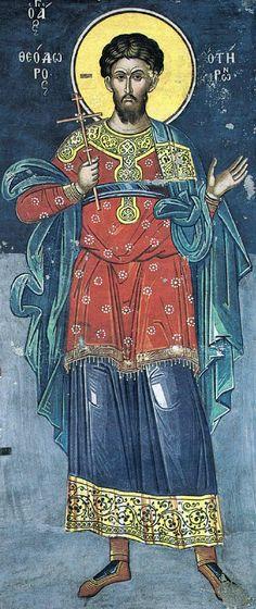 Άγιος Θεόδωρος Τήρων / Saint Theodore Tiro Byzantine Icons, Byzantine Art, Fresco, Orthodox Icons, Christian Art, Religious Art, Saints, Angel, Sketchbooks