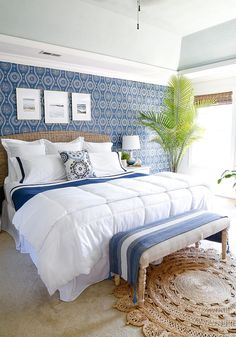 Coastal Blues Master Bedroom Makeover (check out the before and after!) All sources in the room are linked. Come see how we transformed our traditional, colonial bedroom into a tropical chic Coastal Blues Master Bedroom Makeover. Coastal Master Bedroom, Blue Bedroom Decor, Apartment Bedroom Decor, Coastal Bedrooms, Master Bedroom Makeover, Master Bedroom Design, Bedroom Themes, Bedroom Ideas, Blue Bedrooms