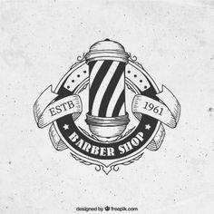 Ручной обращается парикмахерской логотип в стиле винтаж