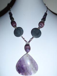 Amethyst gemstone necklace butterfly silver flower toggle purple black (A). $12.00, via Etsy, BaileyBeadz