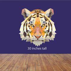 Geometrical Tiger decal, Tiger decal, Tiger head decal, Watercolor decal, Geometric decal, Animal decal,Wall decal,Wall art,Tiger wall decal