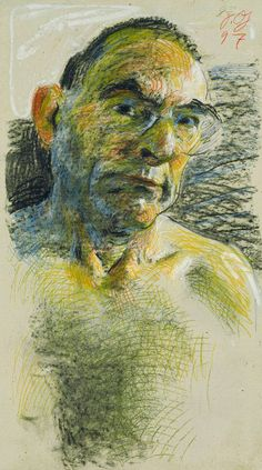Self-portrait (1997) by German artist Johannes Grützke (b.1937). Colored chalk…