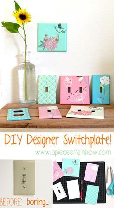 Super easy tutorial plus FREE Printables to transform boring switchplates and outlet covers into gorgeous Designer ones ! - A Piece Of Rainbow