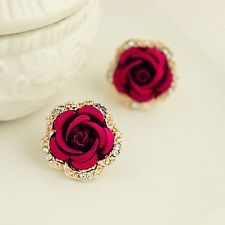 Vintage Style Women Big Crystal Rose Earrings Rhinestone Red Flower Earring Stud