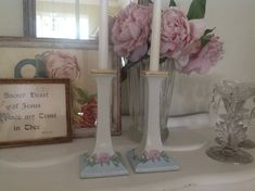 Porcelain Candle Holders Bavaria ~  Pale Blue with Pink Flowers ~  Romantic Homes ~ Vintage Collecti