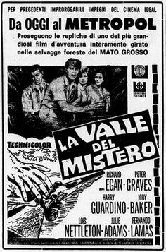 """La valle del mistero"" (Valley of Mystery, 1967) di Joseph Lejtes, con Richard Egan, Peter Graves e Joby Baker. Italian release: May 11, 1967 #MoviePosters"