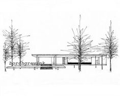 """The Farnsworth House, Plano, Illinois - ink sketch, 11"""" x 14"""" matted"""
