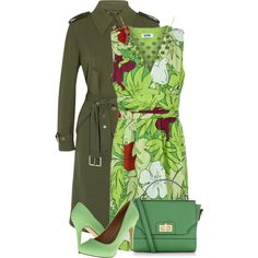 Green by debpat on Polyvore featuring Moschino Cheap & Chic, Michael Kors, Miss A., Accessorize and 1928